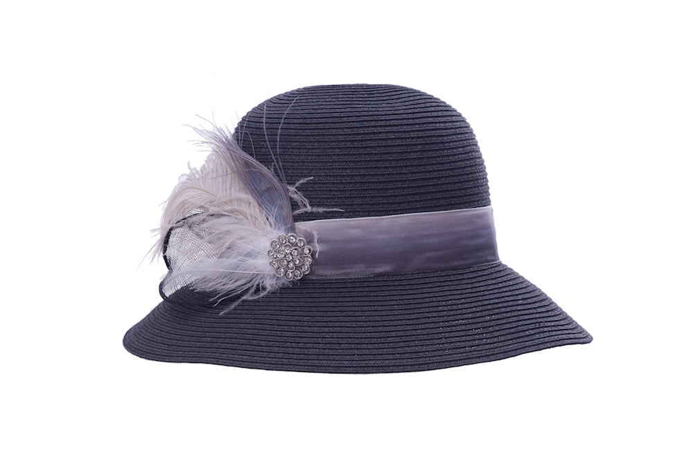 Plumed Cloche in Black