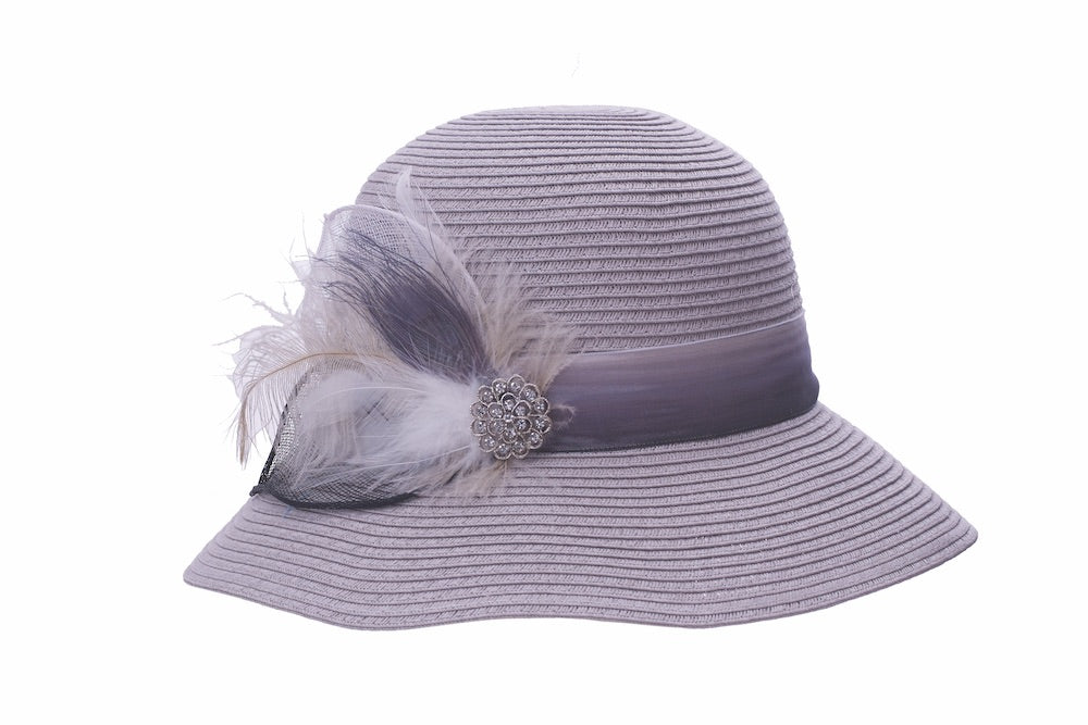 Plumed Cloche in Grey - Heart of the Home PA