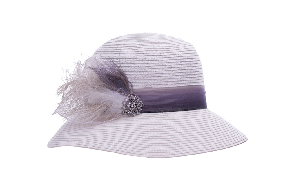 Plumed Cloche in White