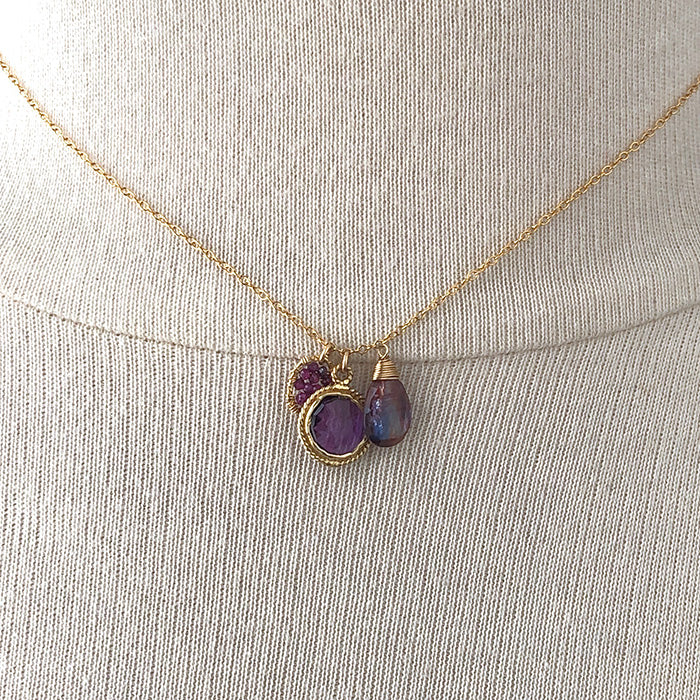 Purple and Red Gemstone Charm Necklace - Heart of the Home PA