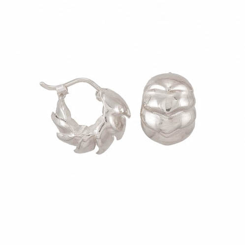 Roly Poly Small Hoop Earrings in Bright Silver - Heart of the Home PA
