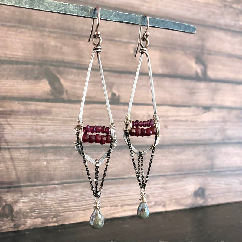 Ruby Lozenge Chain Dangle Earrings - Heart of the Home PA