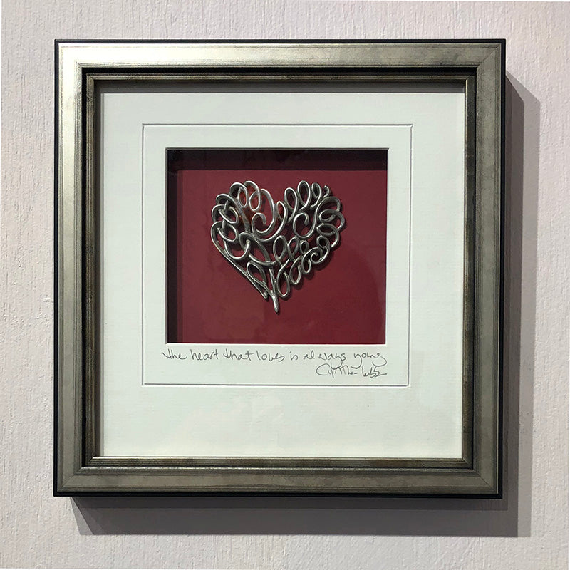 Scroll Heart Framed Wall Art in Red - Heart of the Home PA