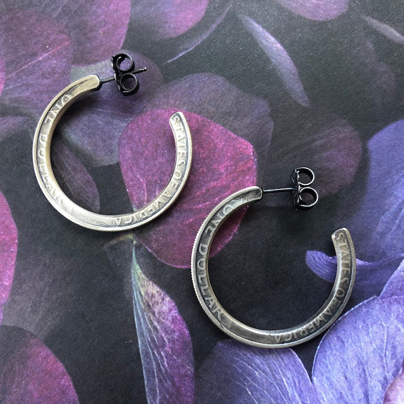 Silver Dollar Hoop Earrings - Heart of the Home PA