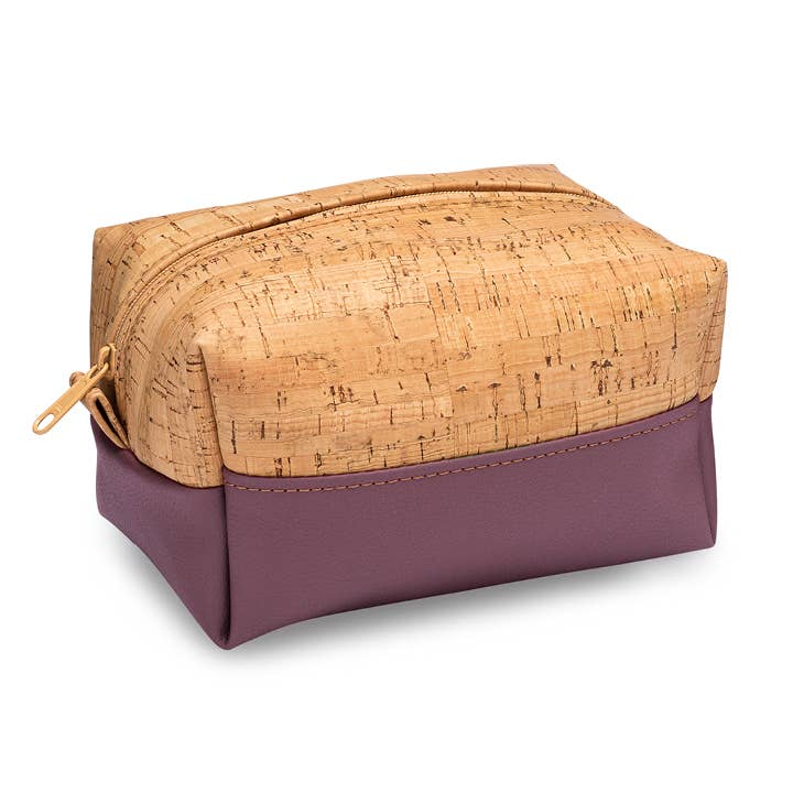 Small Dopp Bag in Cork and Wine Purple - Heart of the Home PA