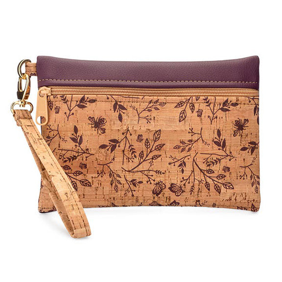 Small Wristlet in Wine Purple Print Front - Heart of the Home PA