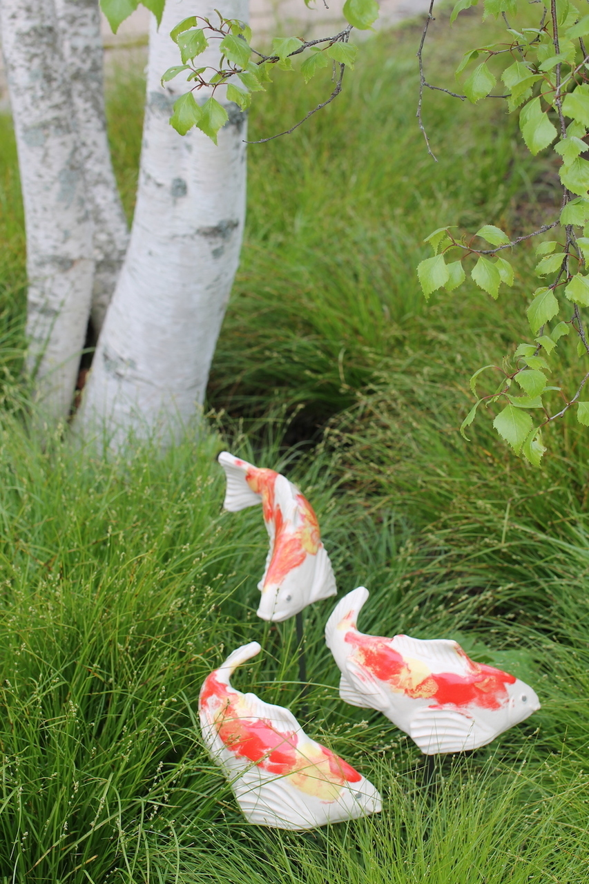 Little Ceramic Garden Koi - Kohaku - Heart of the Home PA