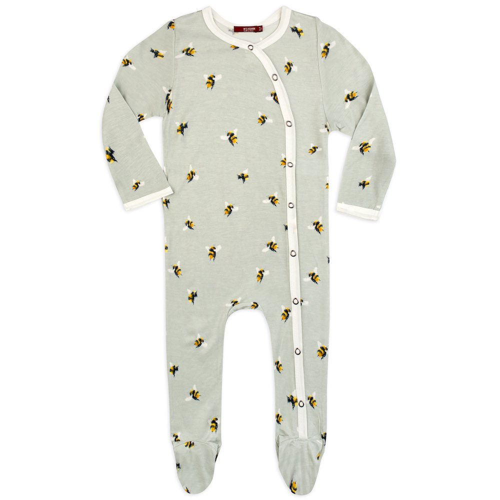Bamboo Footed Romper in Bumblebee 3-6M - Heart of the Home PA