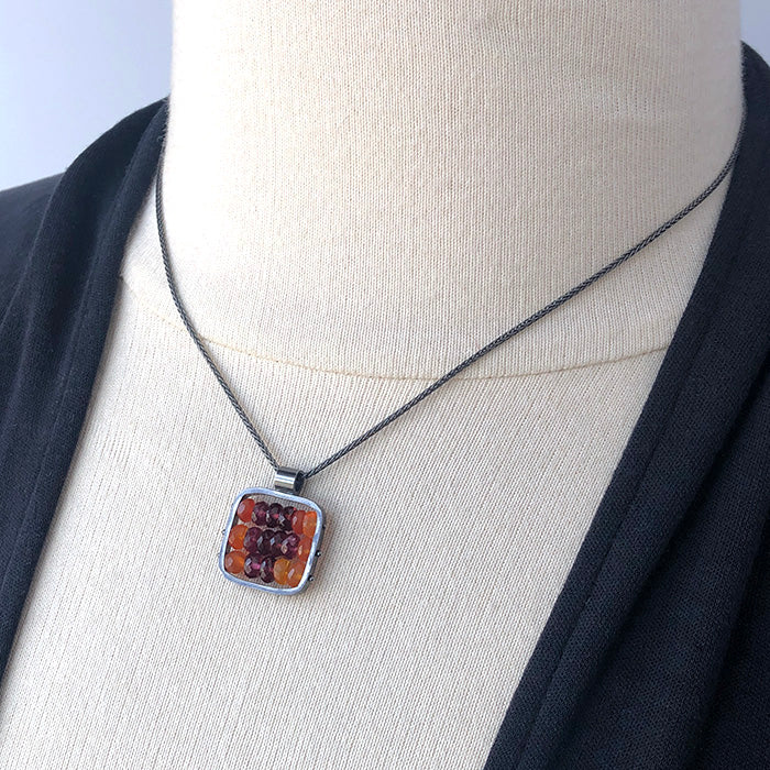 Tapestry Pendant with Garnet and Carnelian - Heart of the Home PA