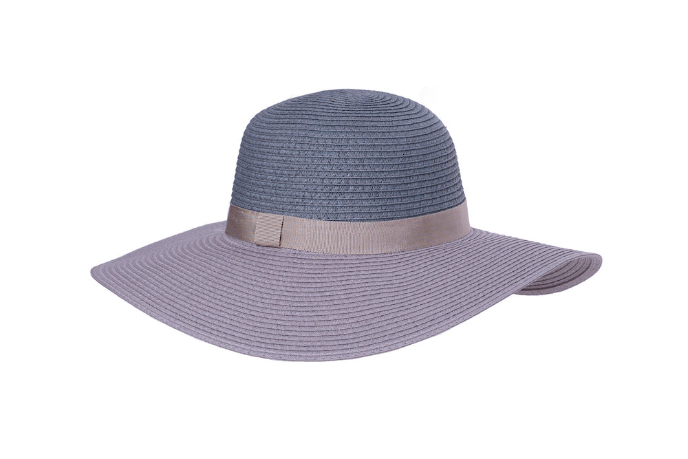 Two-Tone Floppy Summer Hat in Blue - Heart of the Home PA