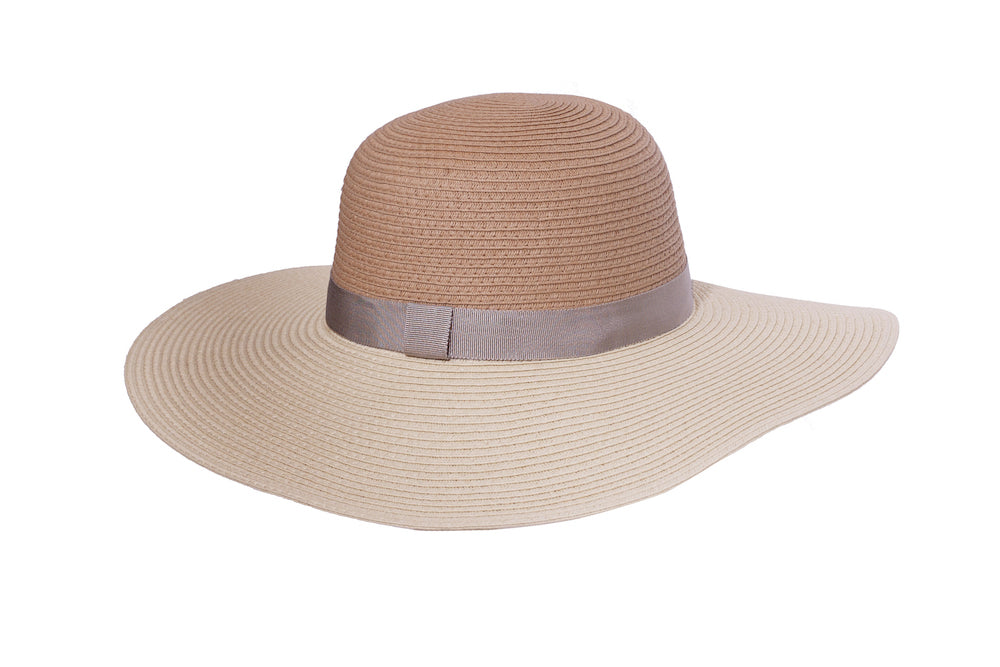 Two-Tone Floppy Summer Hat in Natural - Heart of the Home PA