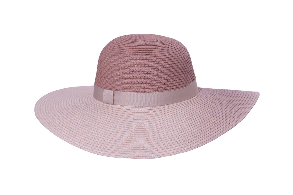 Two-Tone Floppy Summer Hat in Pink - Heart of the Home PA