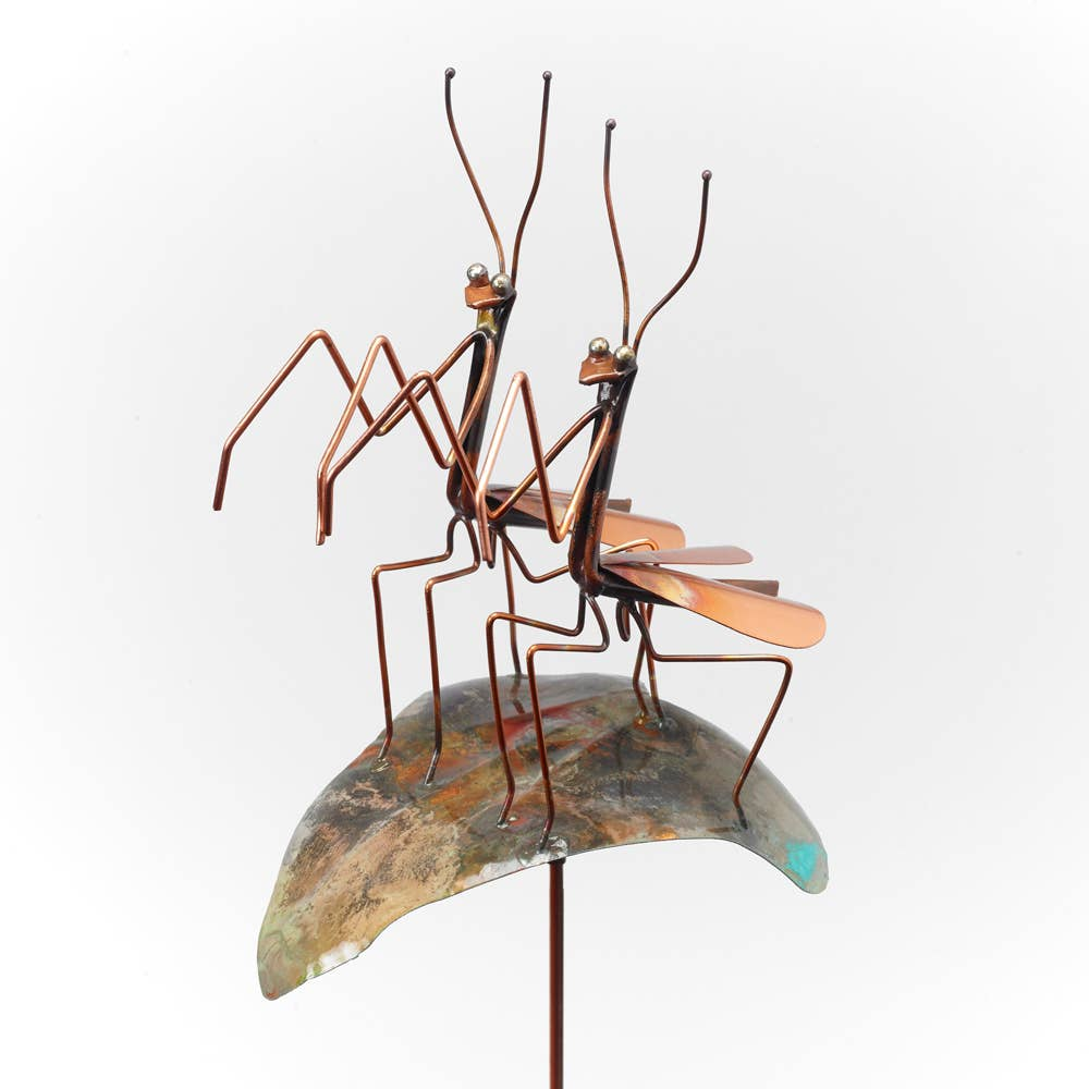 """Wedding"" Praying Mantises Garden Stake - Heart of the Home PA"
