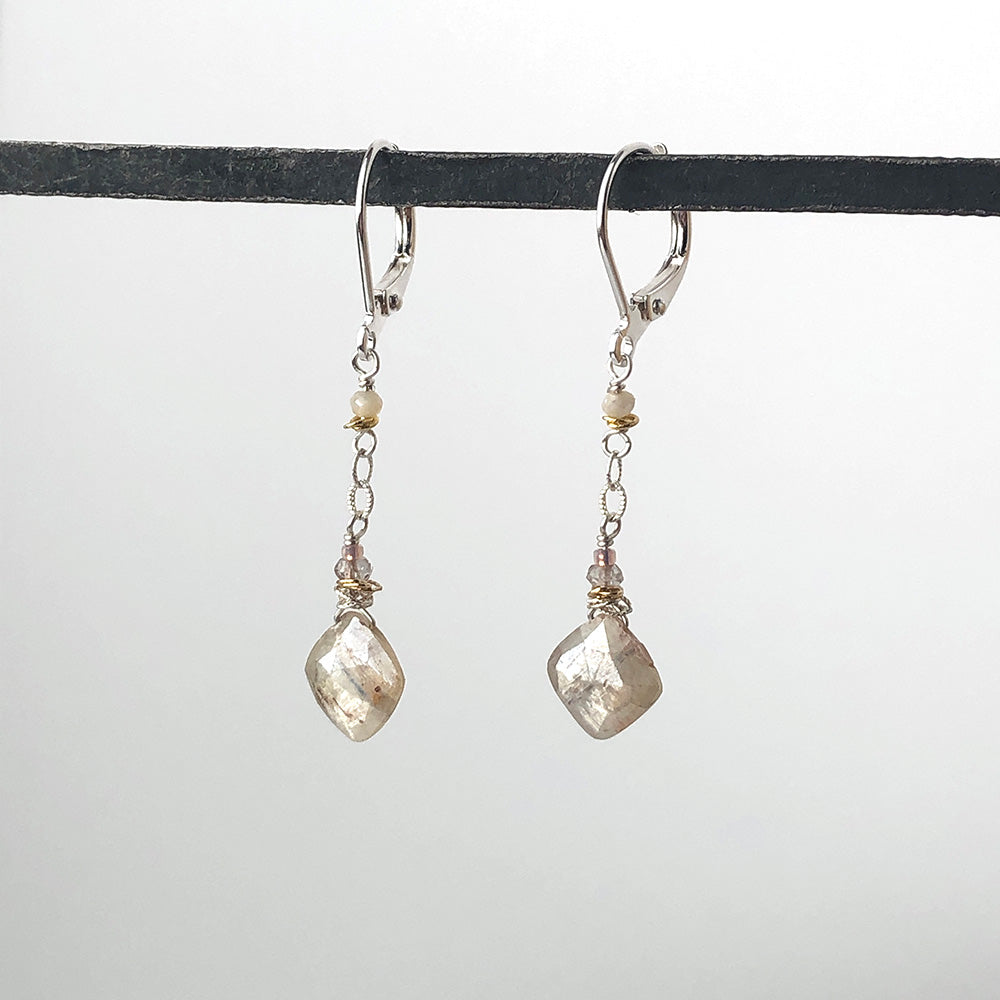 White Kyanite Squares Earrings - Heart of the Home PA