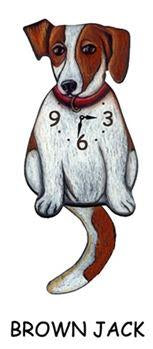 Brown Jack Russell Wagging Dog Clock - Heart of the Home PA