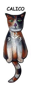 Calico Wagging Cat Clock - Heart of the Home PA