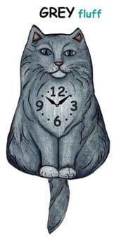 Fluffy Grey Wagging Cat Clock - Heart of the Home PA