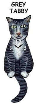 Grey Tabby Wagging Cat Clock - Heart of the Home PA