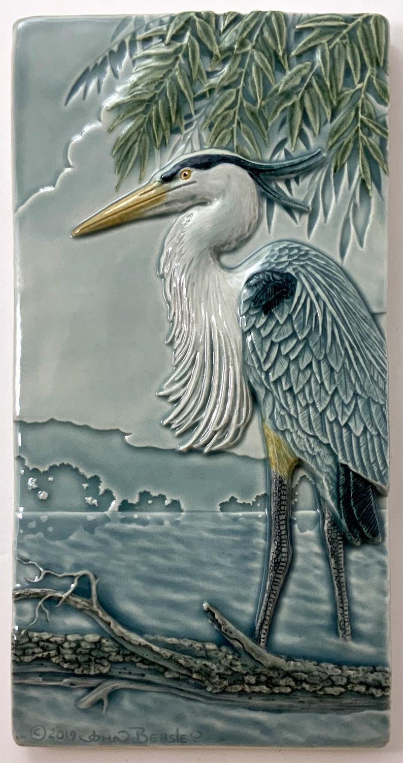 Great Blue Heron Cermic Tile - Heart of the Home PA