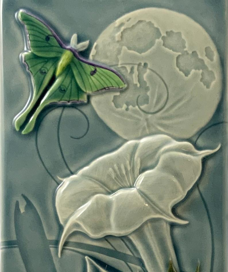 Luna Moth with Moon Ceramic Tile - Heart of the Home PA