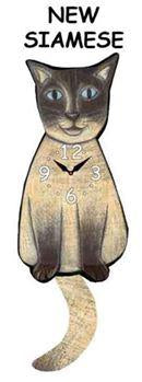 Siamese Wagging Cat Clock - Heart of the Home PA