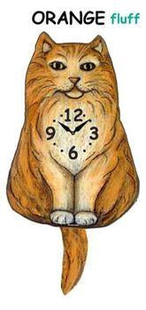 Fluffy Orange Wagging Cat Clock - Heart of the Home PA