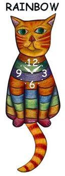 Rainbow Wagging Cat Clock - Heart of the Home PA