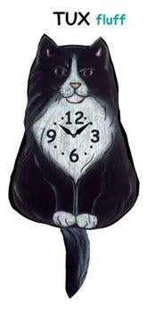 Fluffy Tuxedo Wagging Cat Clock - Heart of the Home PA