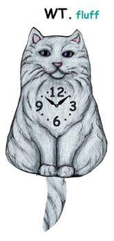 Fluffy White Wagging Cat Clock - Heart of the Home PA