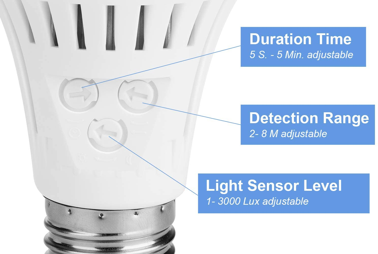 Elrigs Motion Sensor Light Bulb with Dusk to Dawn Warm White, Motion Sensitivity, Time and Twilight Setting Adjustable