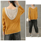 New Knitted Hoodie Fake Two Piece Sweater Literature Loose Casual Top