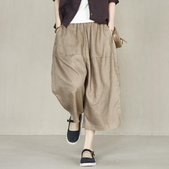 100% linen retro loose cropped harem pants