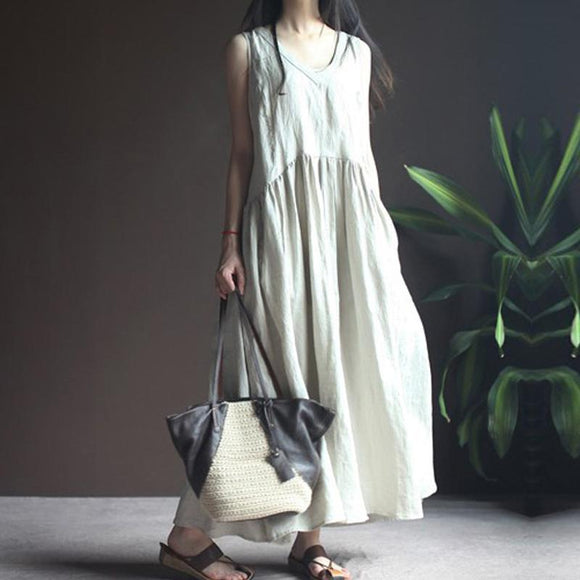 Plus size solid color cotton and linen midi dress long skirt