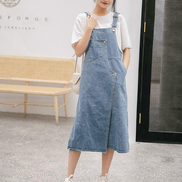 College style dress suspenders women's mid-length versatile denim skirt