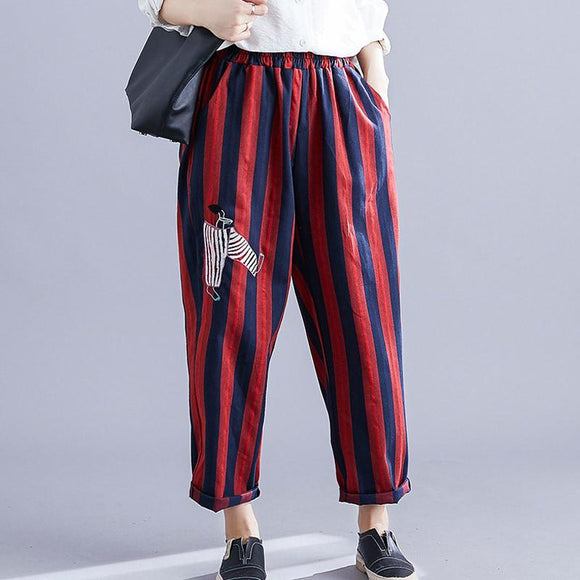 Plus size color striped cotton and linen harem pants