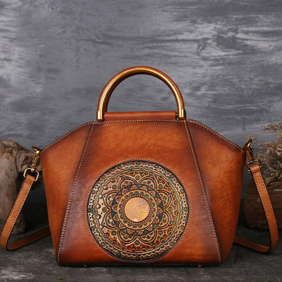 Totem embossed leather tote bag