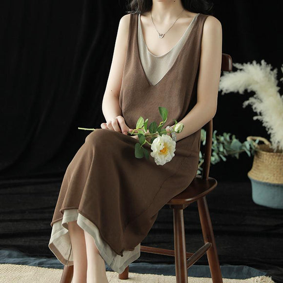 Literary Fan Knitted Linen Vest Dress Summer Solid Color Sleeveless Dress