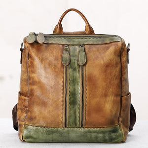 Casual Travel Color Matching Leather Backpack