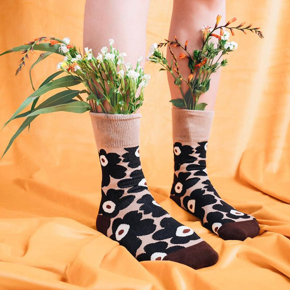 Spring Autumn Big Flower Jacquard Combed Cotton Socks - 3 Pairs