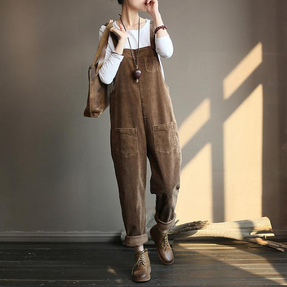 Plus Size - Vintage Women Corduroy Loose Overall