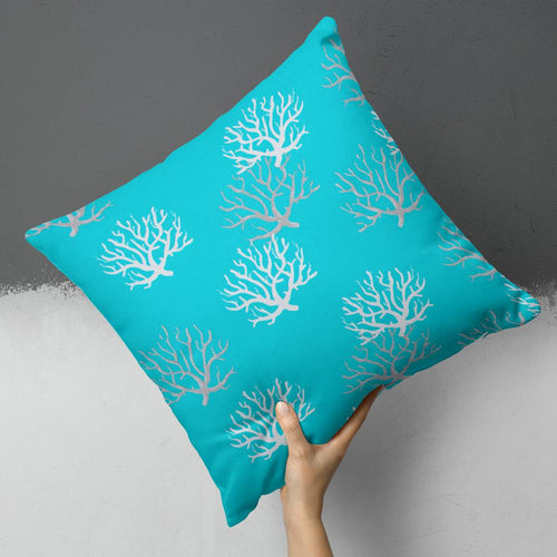 Reef Turquoise Square Outdoor Throw Pillow