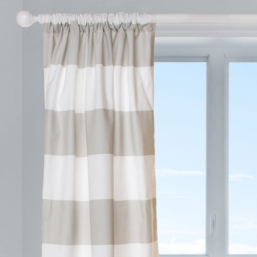 Ollie & Jack Drapery Panel (Taupe/White) (1 Panel) (Approximately 54x84)