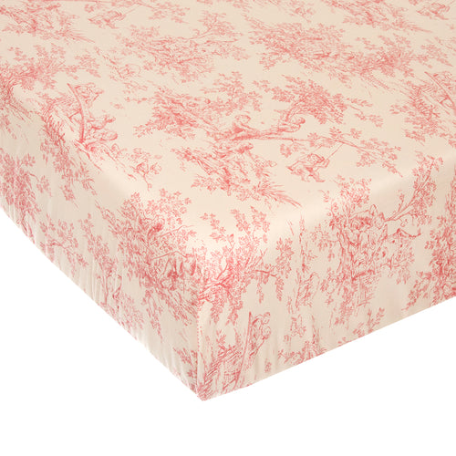 Cottage Rose Fitted Sheet - Pink Toile