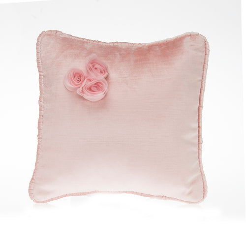 Anastasia Cream Pillow Pink Velvet with Dimensional Flower Cluster - Shop Baby Slings & wraps, Baby Bedding & Home Decor !