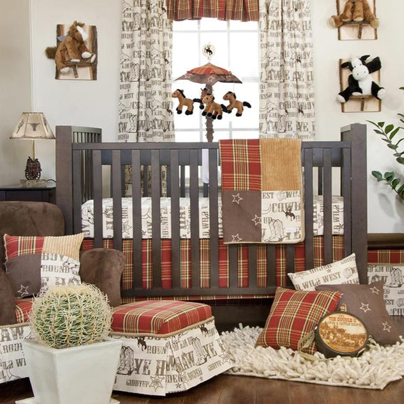 CARSON 3PC SET (INCLUDES QUILT, COWBOY PRINT SHEET, CRIB SKIRT) - Shop Baby Slings & wraps, Baby Bedding & Home Decor !