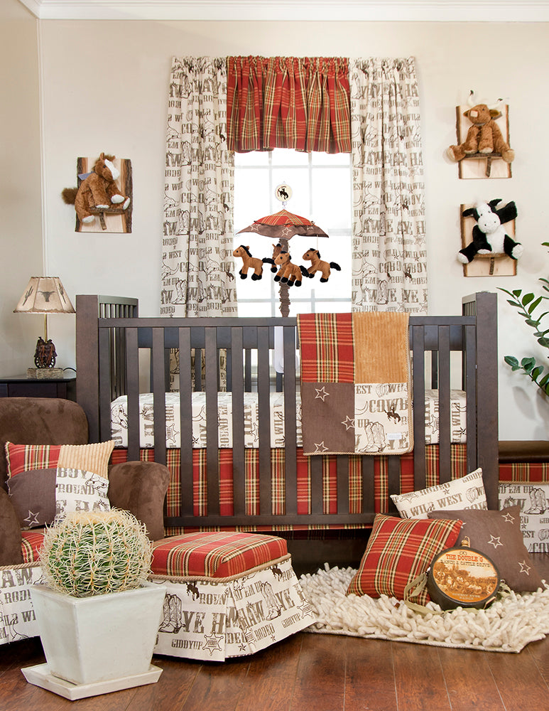 "Carson Red Lamp Base with Cowboy Print Shade (12x12x24"") - Shop Baby Slings & wraps, Baby Bedding & Home Decor !"