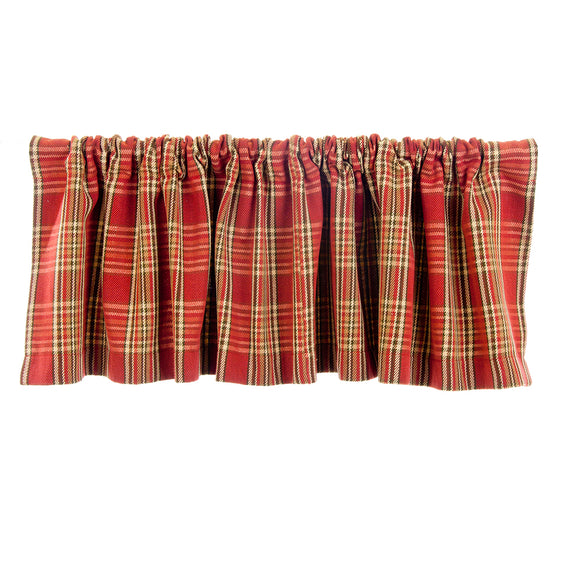 Carson Window Valance  (Red Plaid) (Approximately 70x18