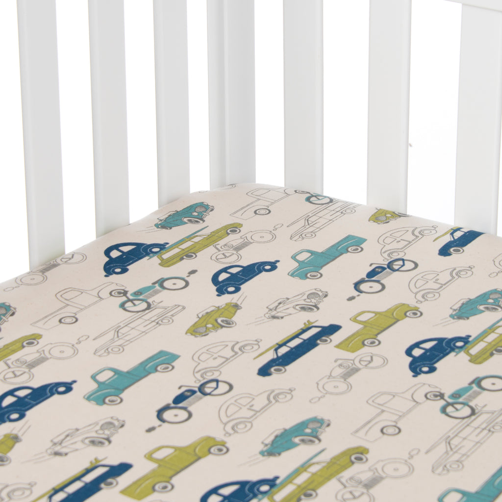 Uptown Traffic Fitted Sheet - Cars - Shop Baby Slings & wraps, Baby Bedding & Home Decor !