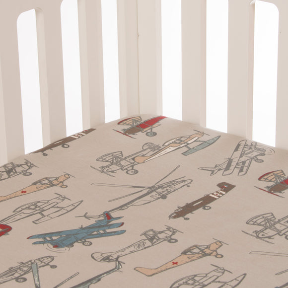 Fly-By Mini Crib Airplane Sheet - Shop Baby Slings & wraps, Baby Bedding & Home Decor !
