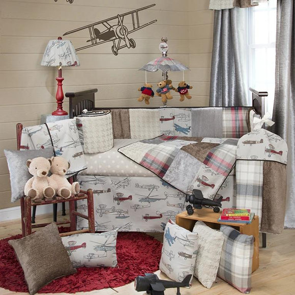 FLY-BY 4PC SET (INCLUDES QUILT, GREY DOT SHEET, CRIB SKIRT AND BUMPER) - Shop Baby Slings & wraps, Baby Bedding & Home Decor !